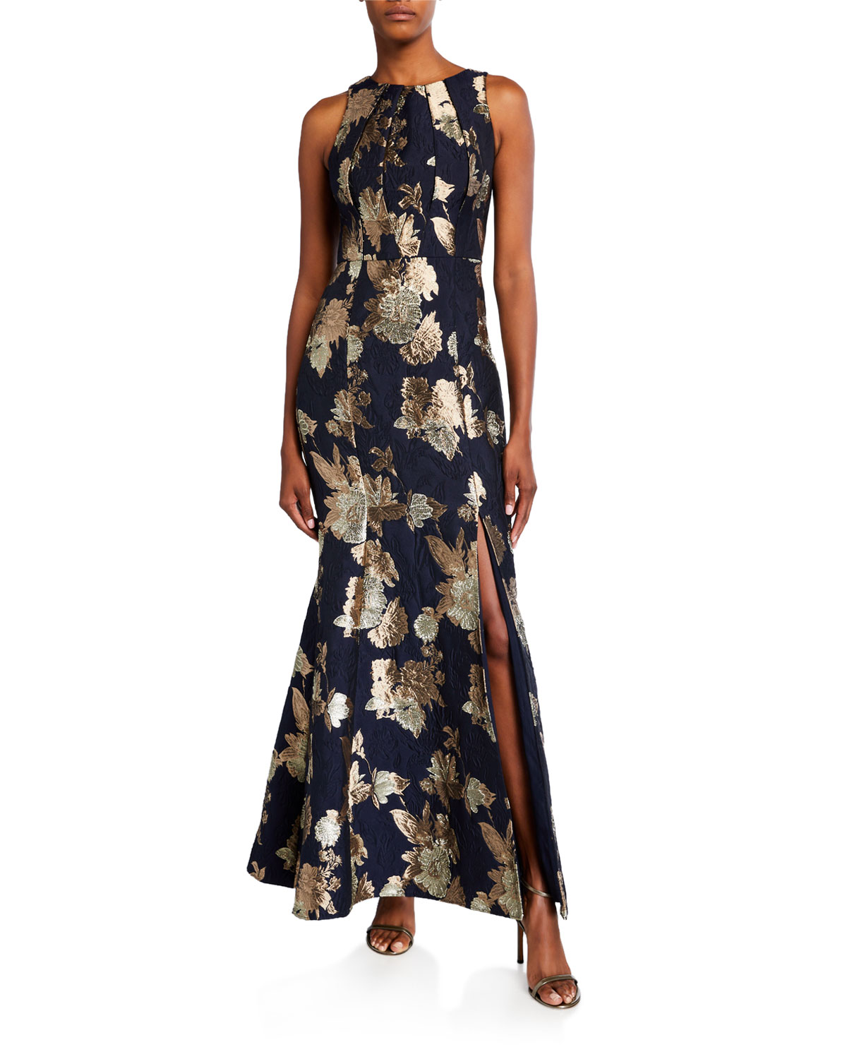 Aidan Mattox Sleeveless Floral Jacquard Mermaid Gown
