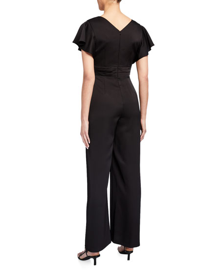 Image 2 of 2: Aidan Mattox V-Neck Flutter-Sleeve Satin Jumpsuit