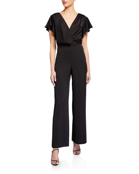 Image 1 of 2: Aidan Mattox V-Neck Flutter-Sleeve Satin Jumpsuit