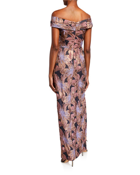 Image 2 of 2: Aidan Mattox Off-the-Shoulder Ruched Floral Jacquard Column Gown
