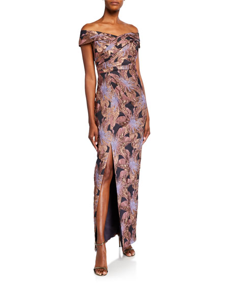 Image 1 of 2: Aidan Mattox Off-the-Shoulder Ruched Floral Jacquard Column Gown