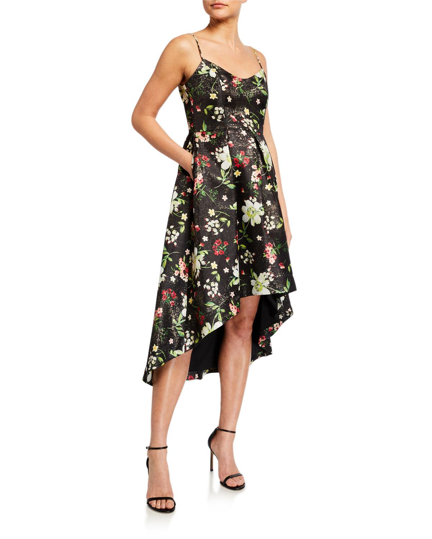 Aidan by Aidan Mattox Floral Jacquard Sleeveless High-Low Dress