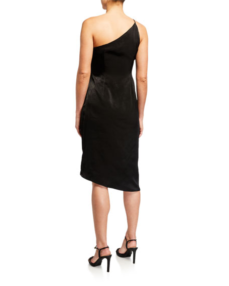 Aidan by Aidan Mattox One-Shoulder Draped Charmeuse Cocktail Dress