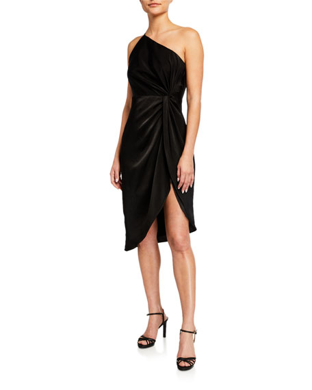 Image 1 of 2: Aidan by Aidan Mattox One-Shoulder Draped Charmeuse Cocktail Dress