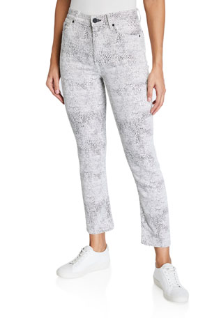 GRLFRND Reed Animal-Print Cropped Jeans