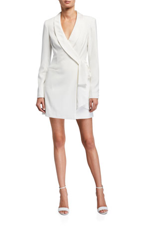 Jay Godfrey Roxy Shawl-Collar Tie-Front Tuxedo Dress
