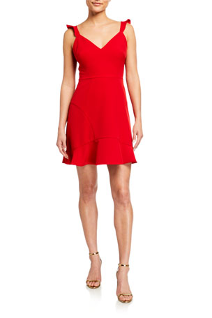 Aidan by Aidan Mattox Sweetheart Flounce Crepe Cocktail Dress