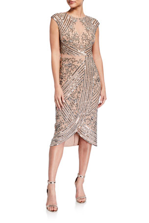 Aidan Mattox Beaded Cap-Sleeve Wrap Skirt Cocktail Dress