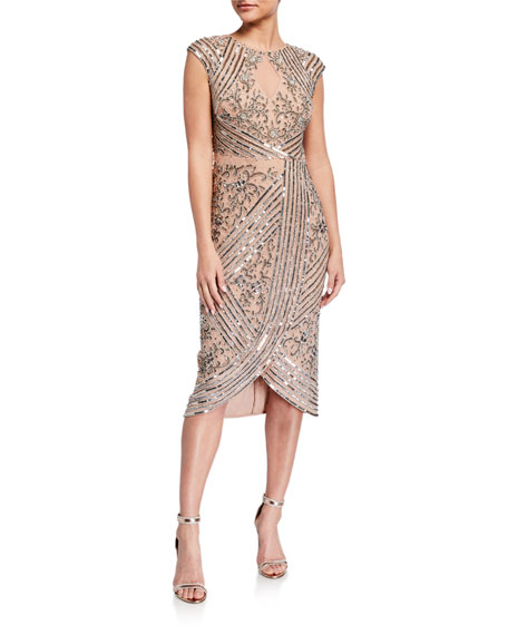 Image 1 of 2: Aidan Mattox Beaded Cap-Sleeve Wrap Skirt Cocktail Dress