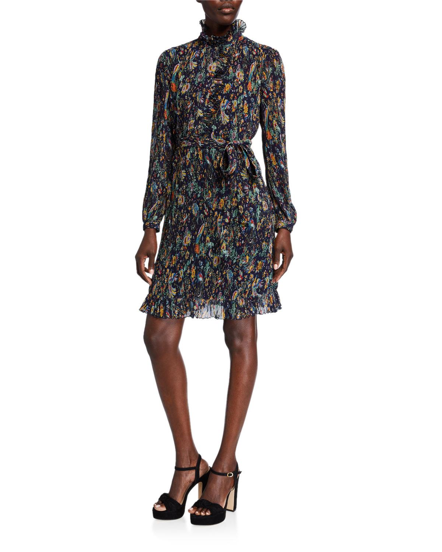 Tory Burch Deneuve Printed Mock-Neck Long-Sleeve Plisse Georgette Dress