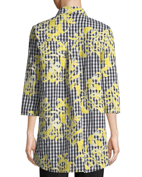 Image 2 of 2: Petite Hello Yellow Embroidered Button-Front Gingham Tunic