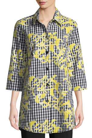 Caroline Rose Petite Hello Yellow Embroidered Button-Front Gingham Tunic