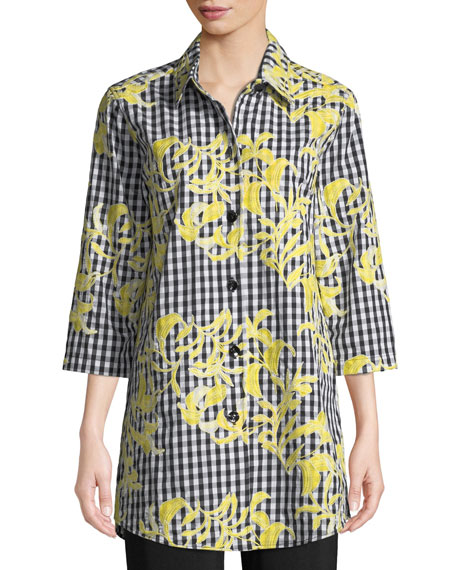 Image 1 of 2: Petite Hello Yellow Embroidered Button-Front Gingham Tunic