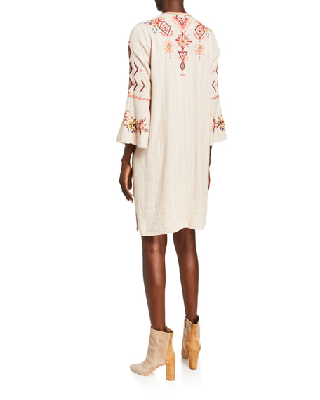 Johnny Was Kirpa Embroidered Circle-Sleeve Shift Dress