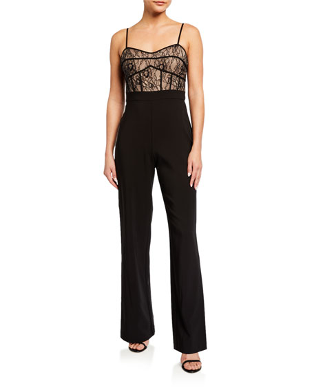 Image 1 of 2: Aidan by Aidan Mattox Lace Corset Top Jumpsuit