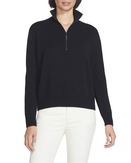 Lafayette 148 New York Stand Collar Cashmere Sweater w/ Zip