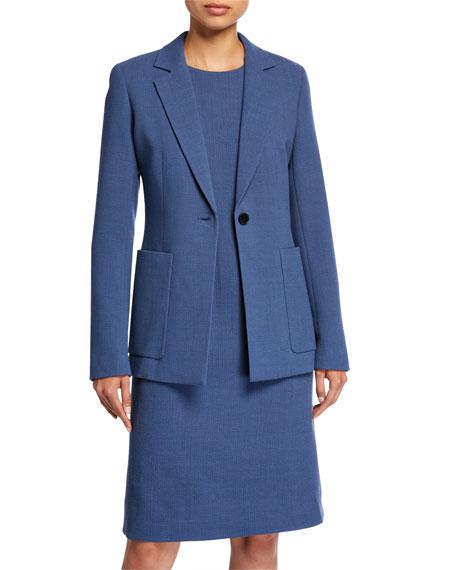 Lafayette 148 New York Plus Size Nazelli Nouveau Crepe One-Button Jacket
