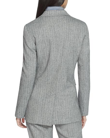 Lafayette 148 New York Plus Size Rhoda Speckled Herringbone One-Button Blazer