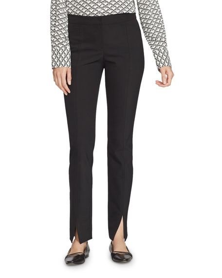 Lafayette 148 New York Plus Size Waldorf Acclaimed Stretch Slim Pants w/ Front Slit