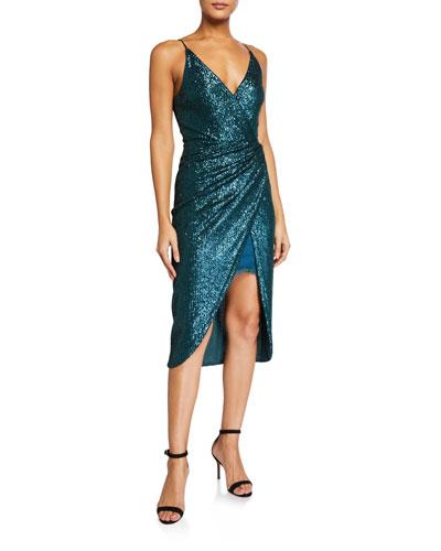 Sequined Cami Wrap Dress