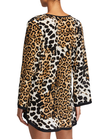 Image 2 of 2: Shan Kawa Pap Leopard-Print Long-Sleeve Coverup