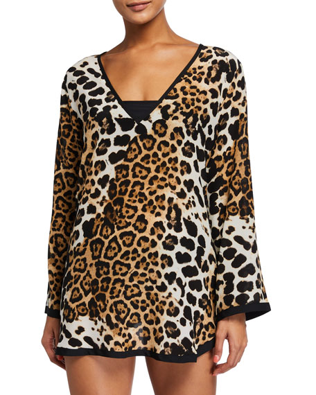 Image 1 of 2: Shan Kawa Pap Leopard-Print Long-Sleeve Coverup