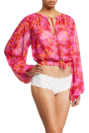 Ramy Brook Tobyn Printed Long-Sleeve Coverup Top