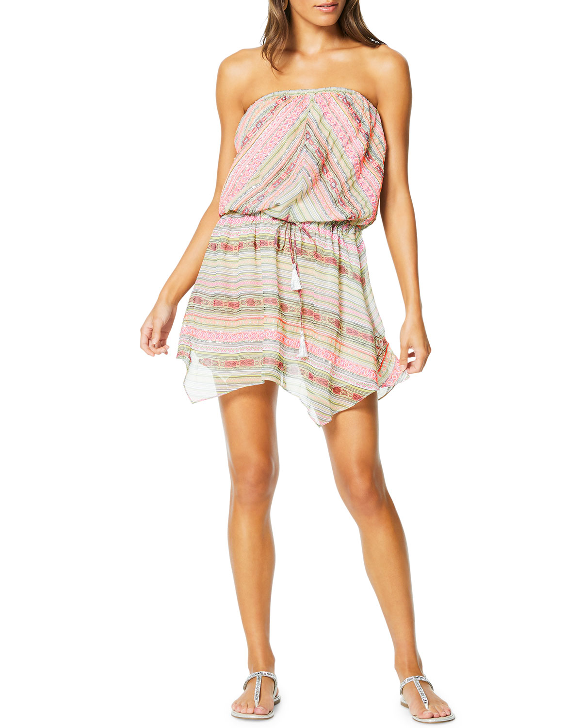 Ramy Brook Alondra Strapless Handkerchief Coverup Dress