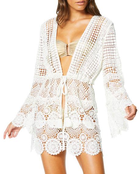 Ramy Brook Julius Tie-Front Lace Coverup Dress