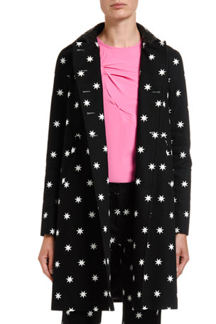 No. 21 Star-Print A-Line Coat w/ Laser-Cut Collar