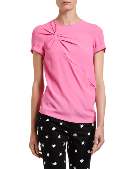 Image 1 of 3: No. 21 Twisted Crewneck Short-Sleeve Blouse