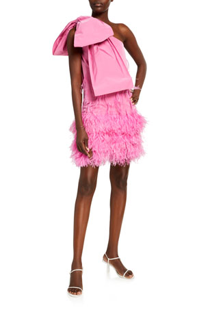 No. 21 One-Shoulder Bow Mini Dress with Feathers