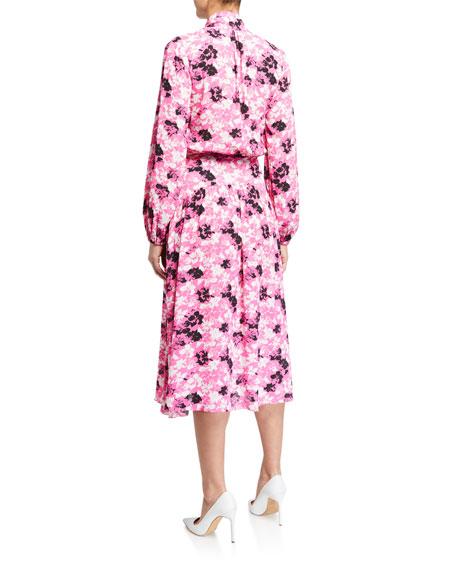 No. 21 Long-Sleeve Floral Tie-Neck Midi Dress