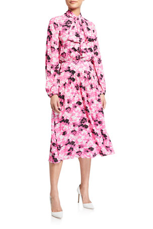No. 21 Long-Sleeve Floral Tie-Neck Midi Dress