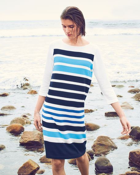 Joan Vass Petite Striped Sweaterdress