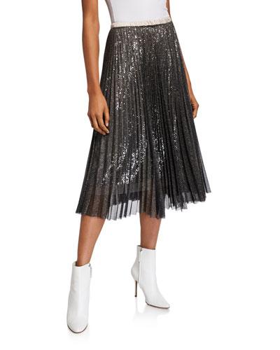 Metallic Sequined Pleated Midi Skirt