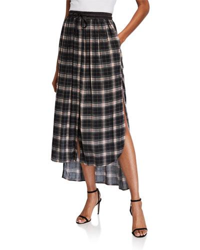 Satin Waist Plaid Skirt
