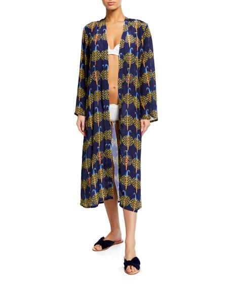 Verandah Hand Beaded Geometric Ultra Soft Kimono Coverup Robe