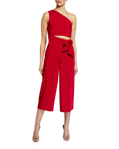 One-Shoulder Cropped Jersey Jumpsuit w/ Side Cutout