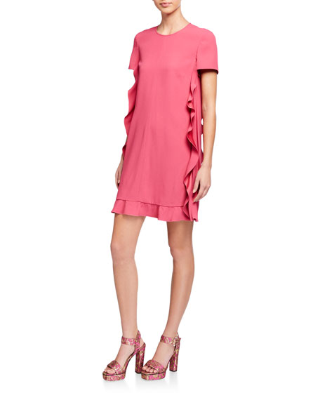 REDValentino Short-Sleeve Pleated Satin Ruffle Side Dress