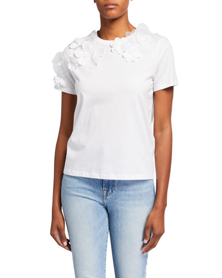 REDValentino Flower Applique Short-Sleeve Tee