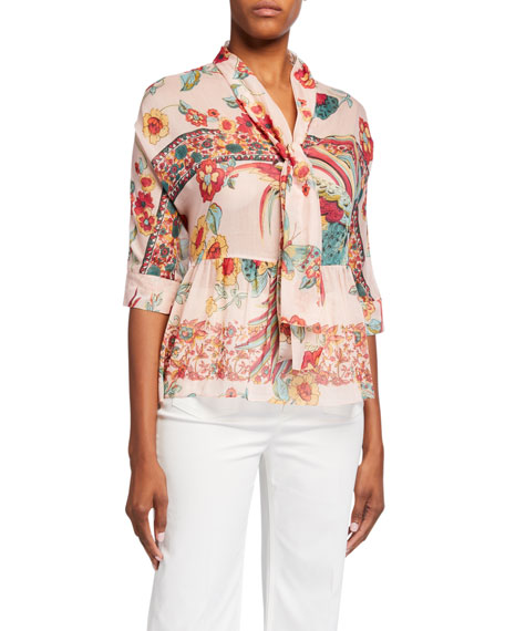 REDValentino Birds of Paradise Print Elbow-Sleeve Tie-Front Blouse