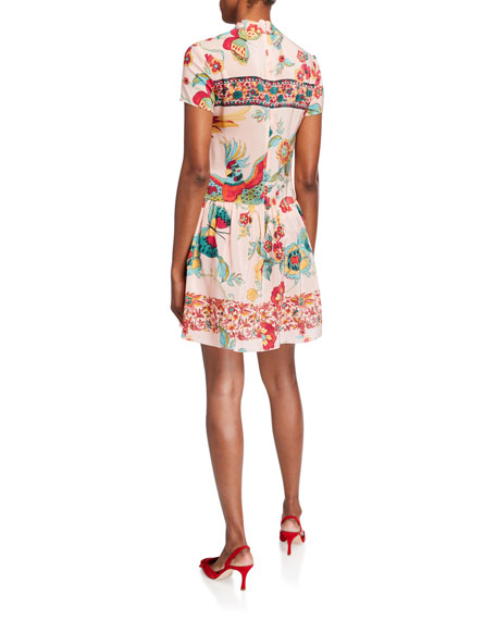 REDValentino Birds of Paradise Tie-Front Short-Sleeve Dress