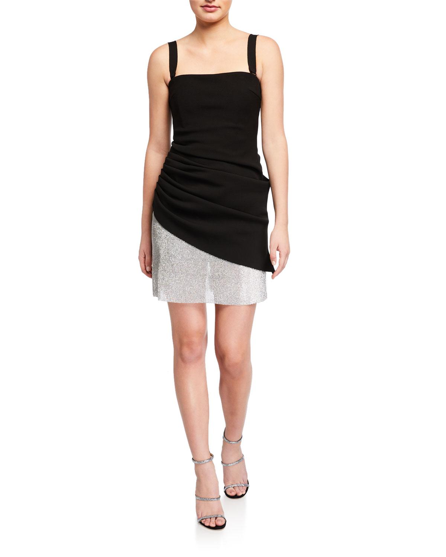 Misha Indra Square-Neck Jeweled-Hem Crepe Dress