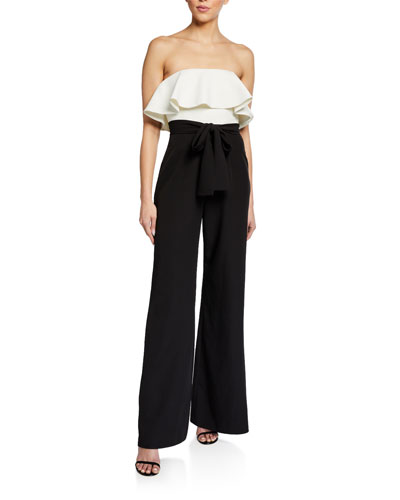 Colorblock Strapless Ruffle Top Wide-Leg Jumpsuit