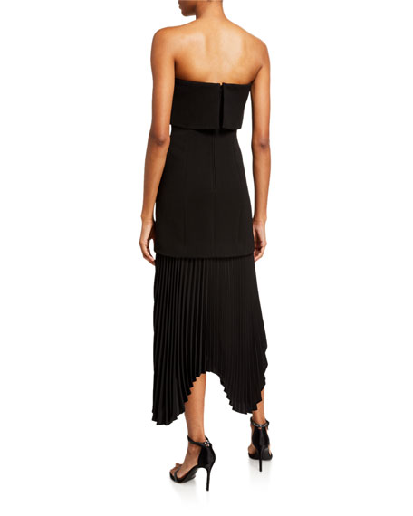 C/MEO Take Seriously Pleated Strapless Cocktail Dress