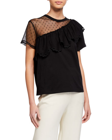REDValentino Asymmetric Sheer Lace Short-Sleeve Ruffle-Trim Tee