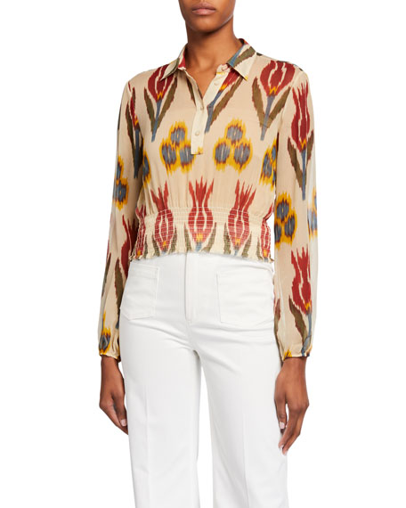 REDValentino Ikat Printed Long-Sleeve Shirred-Waist Silk Top