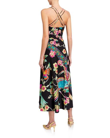 REDValentino Birds of Paradise Cross-Back Midi Poplin Dress