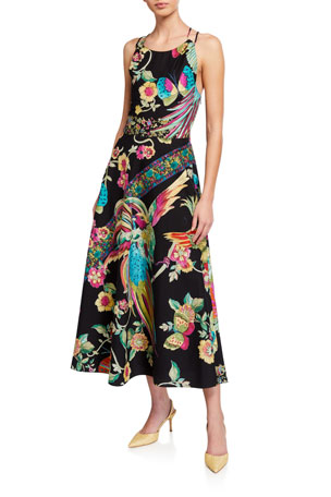 REDValentino Birds of Paradise Cross-Back Midi Poplin Dress